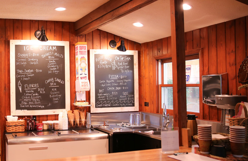 Half Moon Trail Resort has an old fashioned ice cream counter in their lodge, where you can order malts, shakes, on-tap root beer, and ice cream cones.