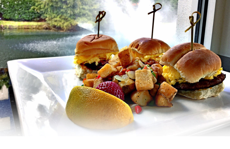 Sliders and fruit lunch at Holiday Inn Resort Orlando Suites - Waterpark.