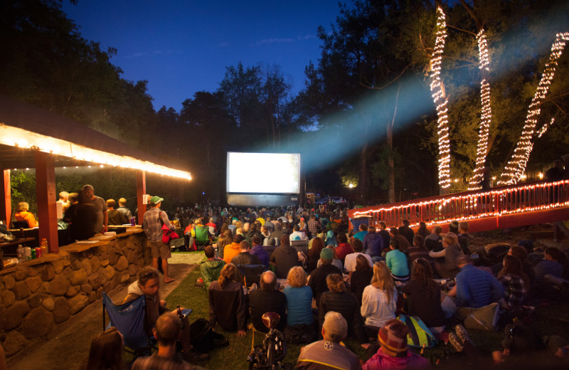 Outdoor theater at Boulder Adventure Lodge.