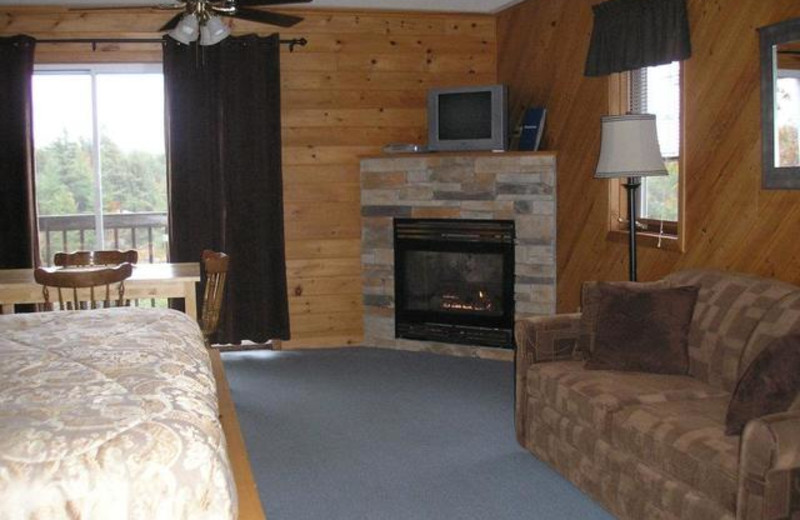 Cabin bedroom at Pleasant Cove Resort.