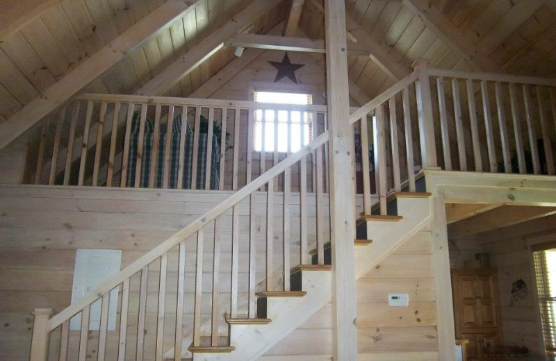 Old Glory cabin stairs and loft at New River Trail Cabins.
