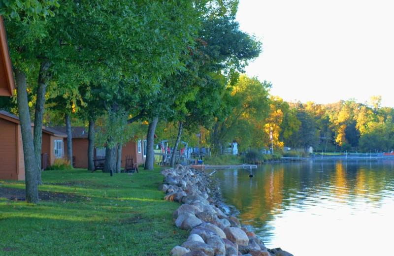 Lake view cabins at Train Bell Resort.