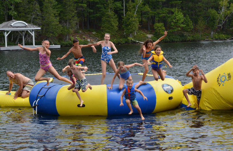 Water trampoline at Port Cunnington Lodge & Resort.