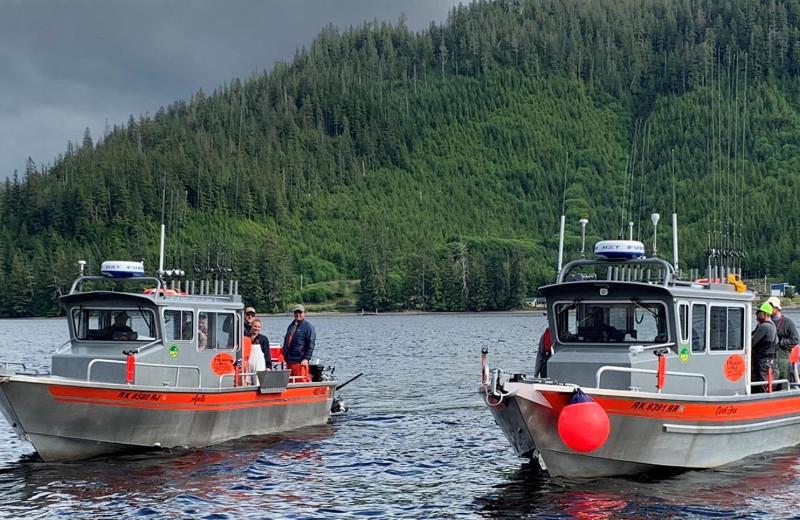 Boats at Screamin' Reels Lodge.