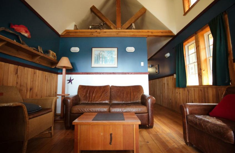 Cabin living room at The Cabins at Terrace Beach.