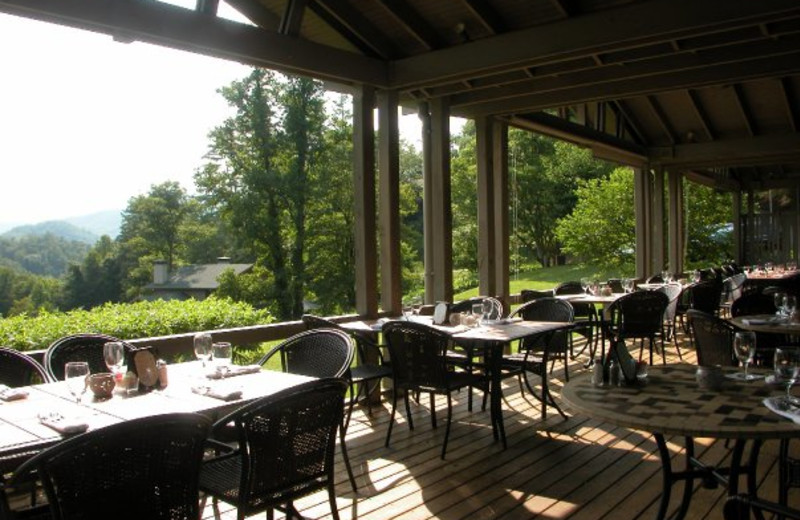 Patio dining at Nantahala Village.