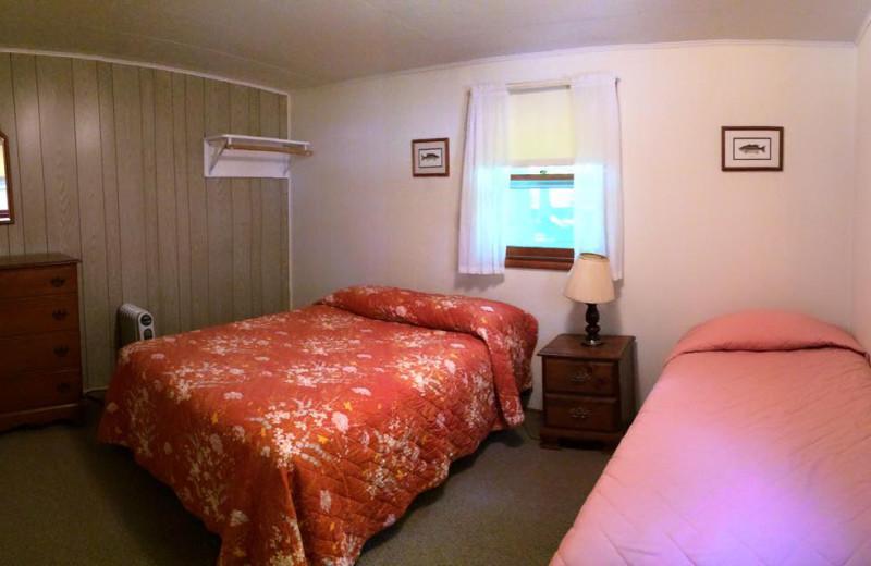 Cabin bedroom at Tamarac Bay Resort.