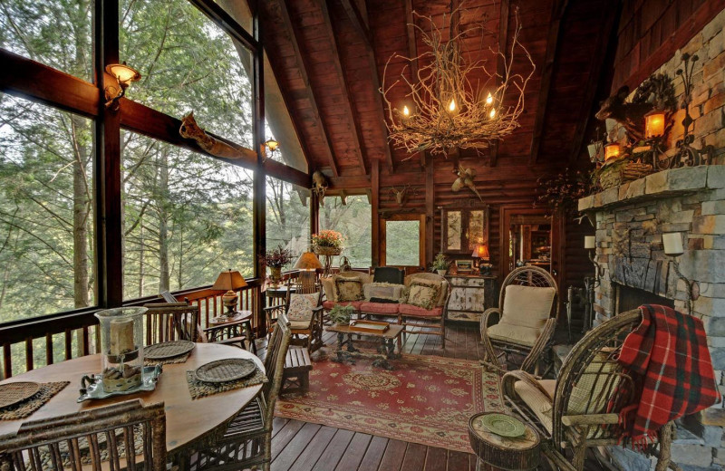 Cabin porch at Sliding Rock Cabins.