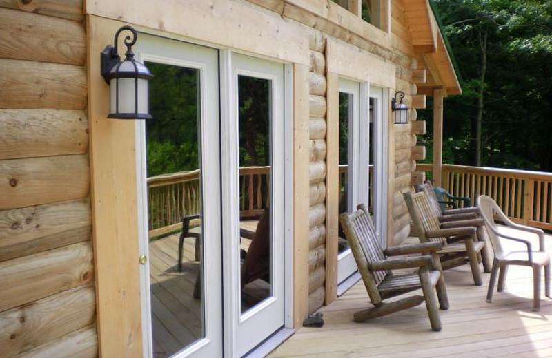 Cabin deck at Harman's Luxury Log Cabins.