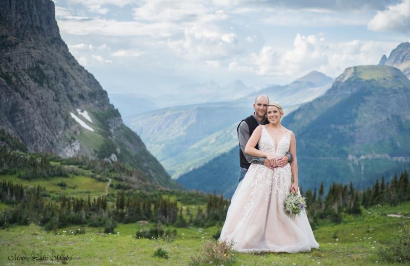 Wedding couple at Izaak Walton Inn.