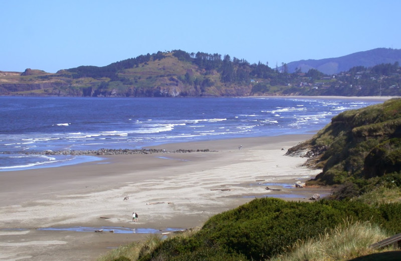 Beach shoreline at Hallmark Resort in Cannon Beach.