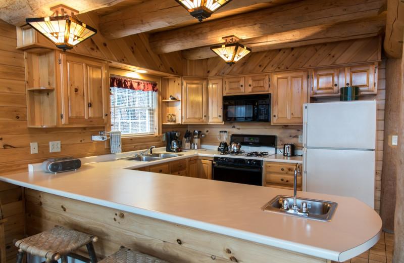 Cabin kitchen at Trout House Village Resort.