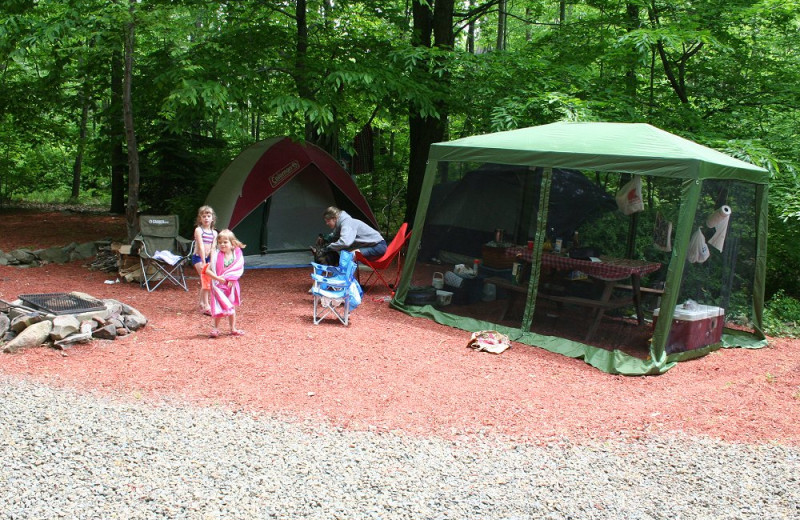 Camping site at Hemlock Campground & Cottages.