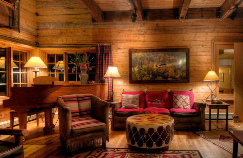 Cabin living room at The Home Ranch.