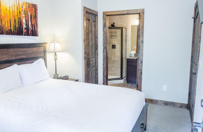 Rental bedroom at Fall River Village Resort Condos.
