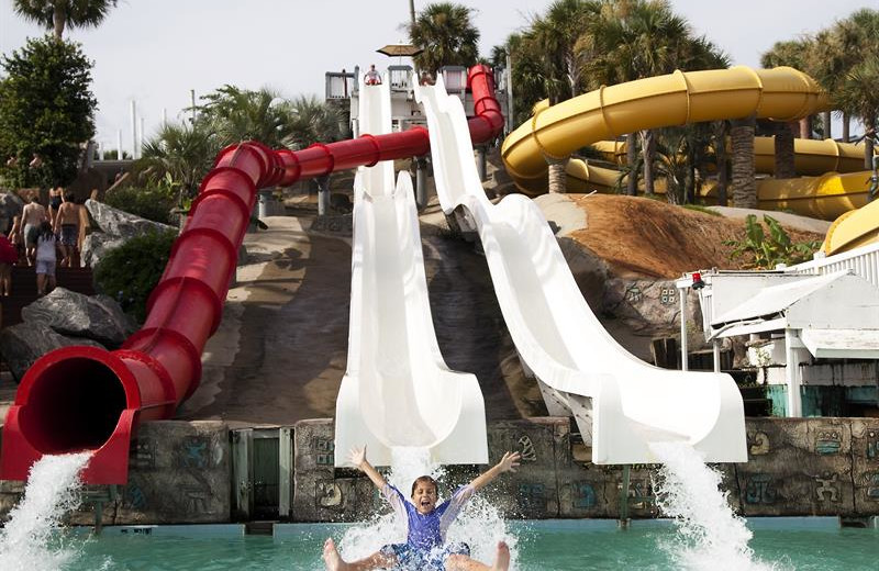 Water slides at Shoreline Towers.