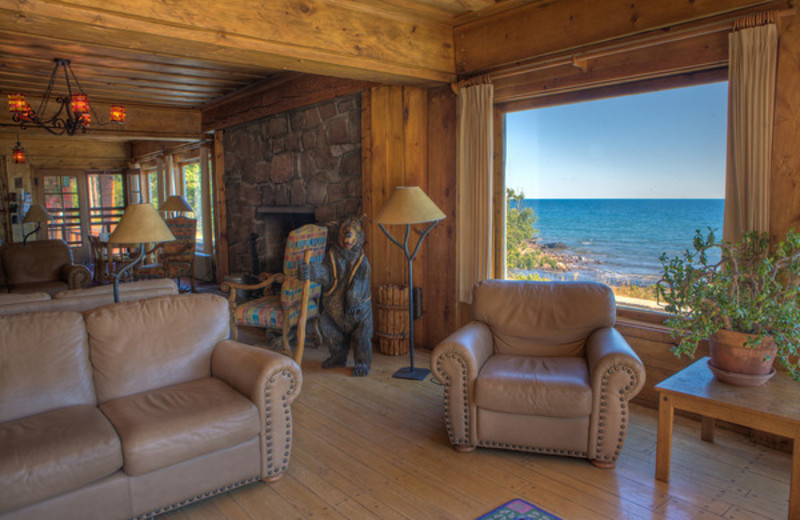 Living room at Lutsen Resort on Lake Superior.