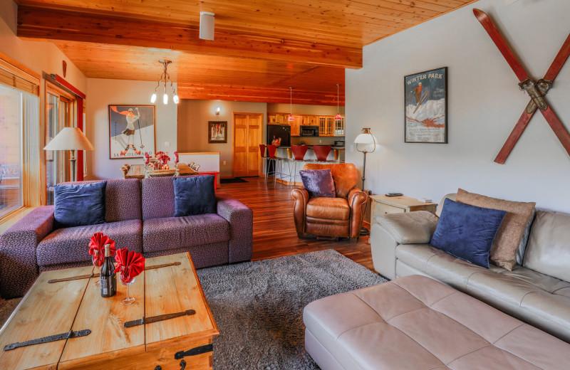 Rental living room at Access Winter Park Lodging.