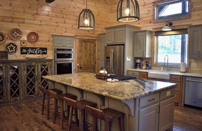 Rental kitchen at White Glove Luxury Cabins.