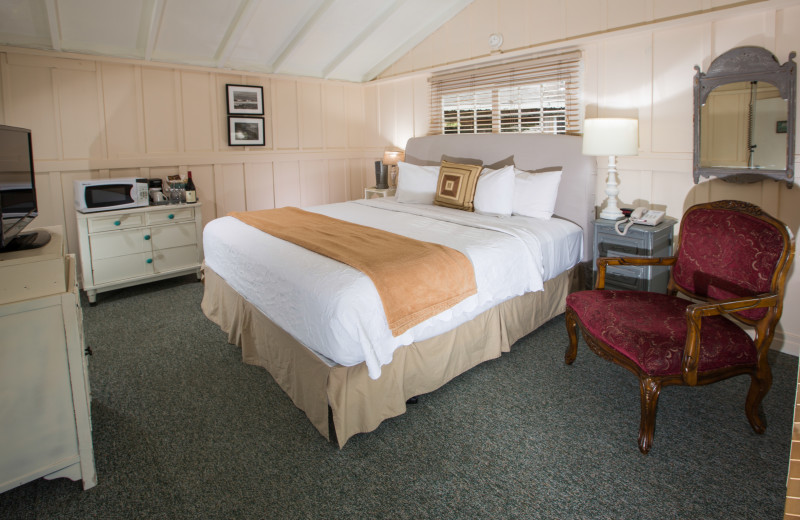 Cottage bedroom at Carmel River Inn.