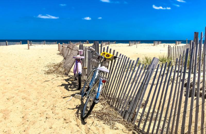 Bikes on beach at Joe Lamb Jr. & Associates Vacation Rentals.