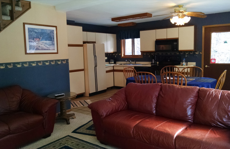 Cabin living room at The Arrows.