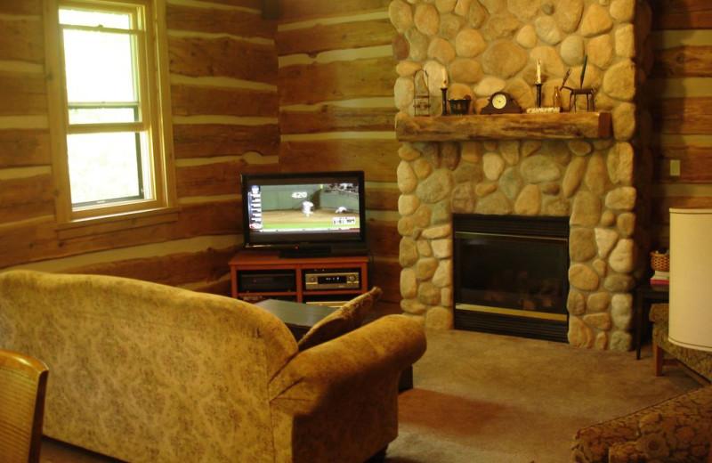 Cabin living room at Larsen Log Cabins.