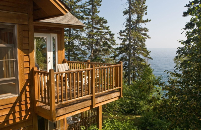 Guest deck at Lutsen Resort on Lake Superior.
