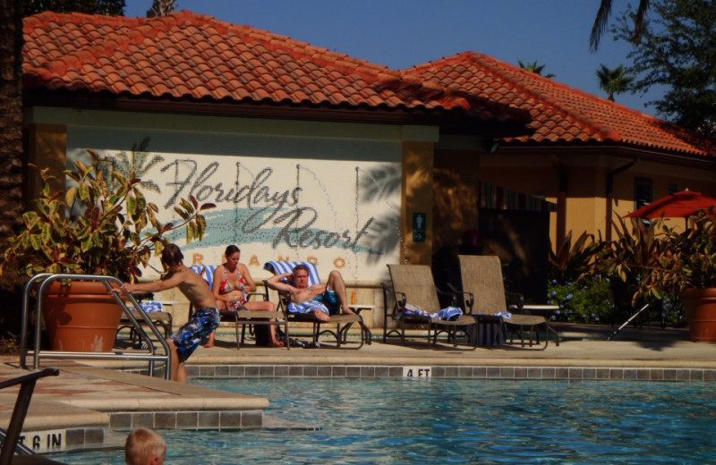 Relaxing by the pool at Floridays Resort Orlando.