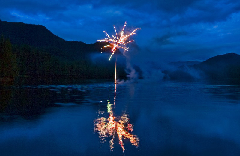 Fireworks at Yes Bay Lodge.