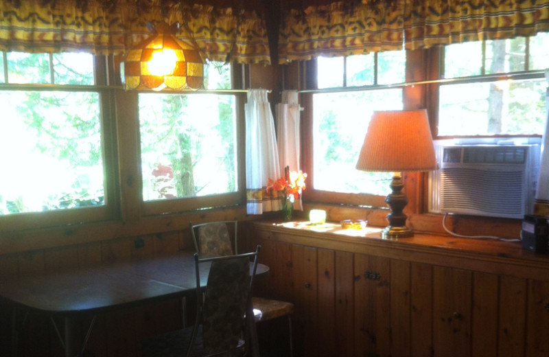 Cabin dining at Radtke's Sabinois Point Resort.