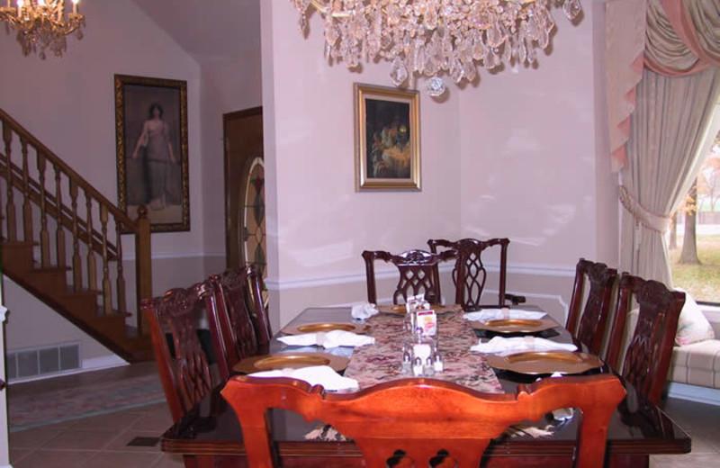 Dining room at Sassafras Inn Bed & Breakfast.