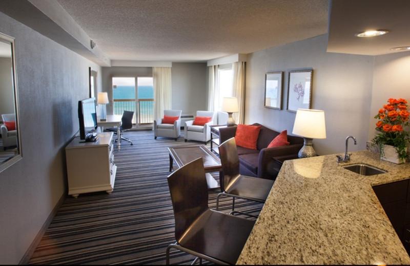 Guest room at Crowne Plaza Melbourne Oceanfront Resort.