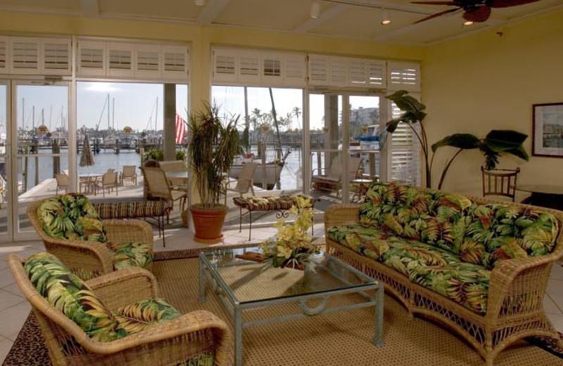 Lobby view at Cove Inn on Naples Bay.