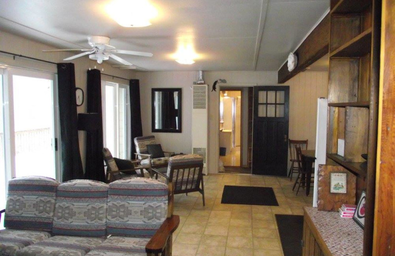 Cabin interior at Fernleigh Lodge.