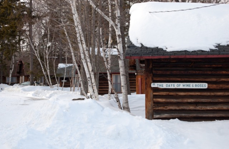 Cabin exterior view of The Birches Resort.