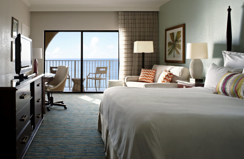 Guest room at Grand Cayman Marriott Beach Resort.