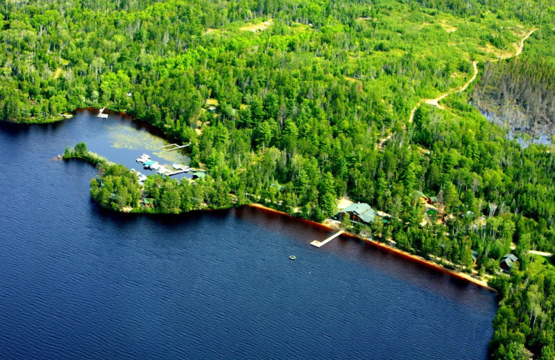 Aerial view of Elbow Lake Lodge.