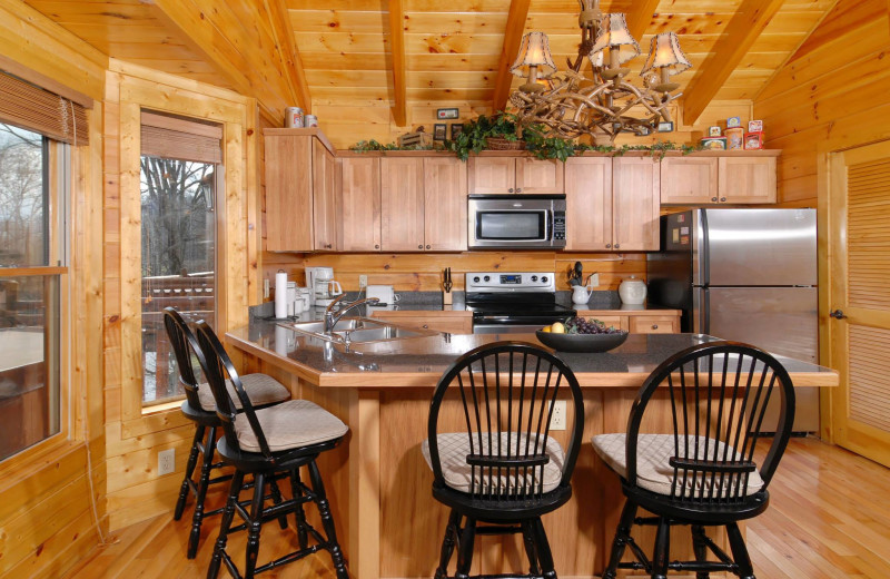 Cabin kitchen at Fireside Chalets & Cabin Rentals.