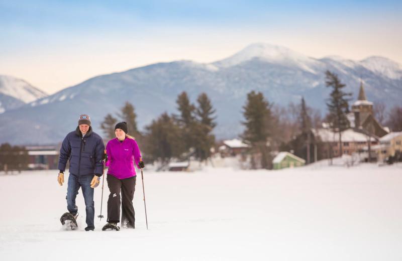 Snowshoeing at Mirror Lake Inn Resort & Spa.