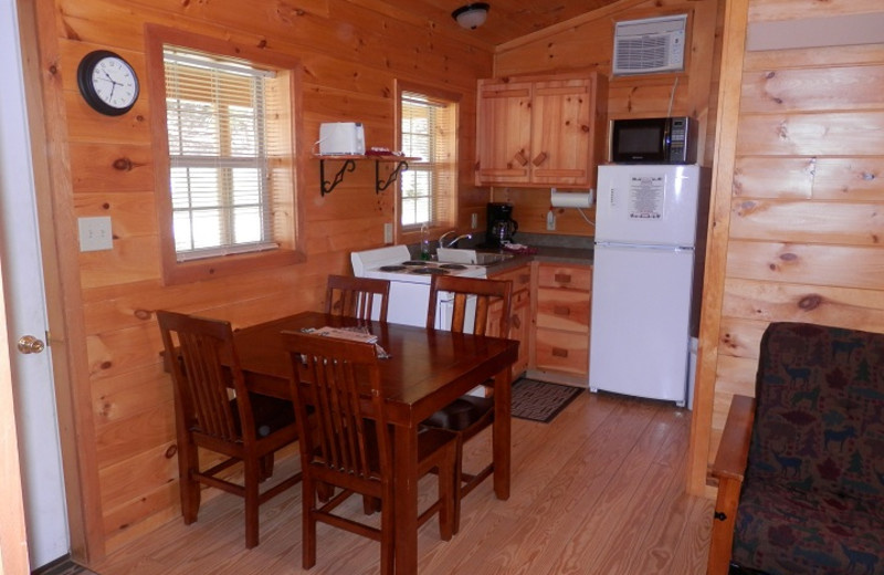 Cabin kitchen area at American Pines Cabins.