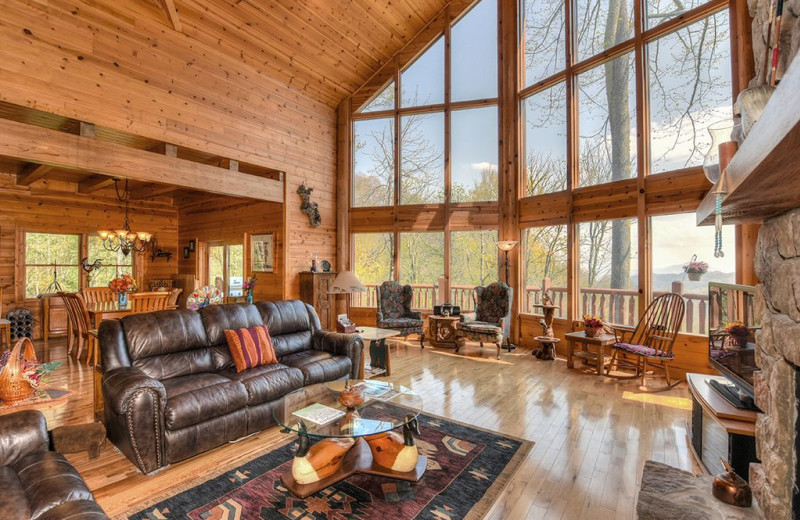Rental living room at Smoky Mountain Retreat Realty.
