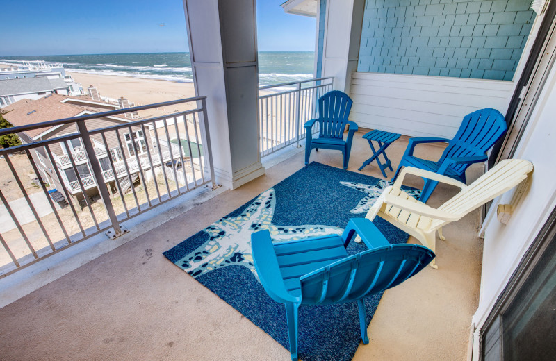 Rental balcony at Sandbridge Blue Vacation Rentals.