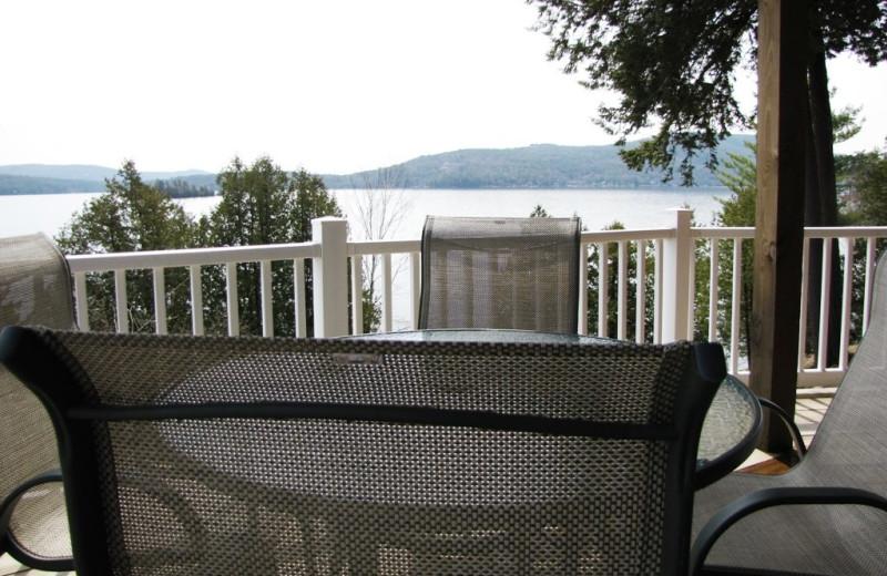 Cabin balcony at The Depe Dene Resort.