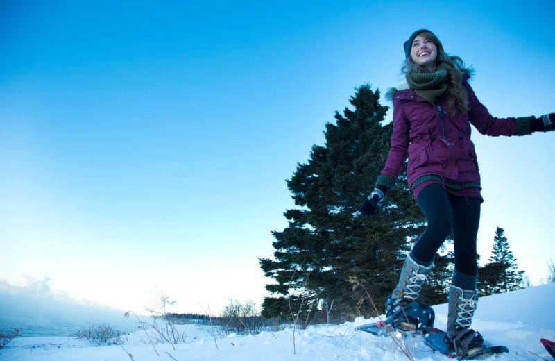 Snowshoeing at Temperance Landing on Lake Superior.