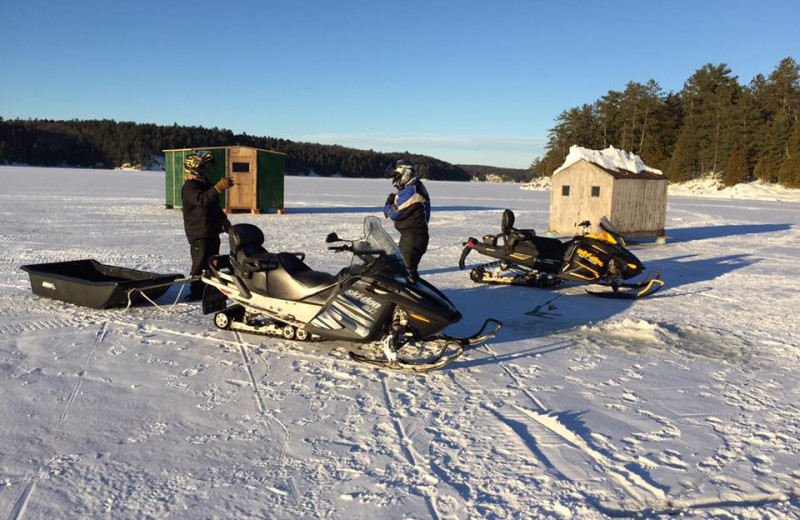 Ice fishing at Little Hawk Resort & Marina.