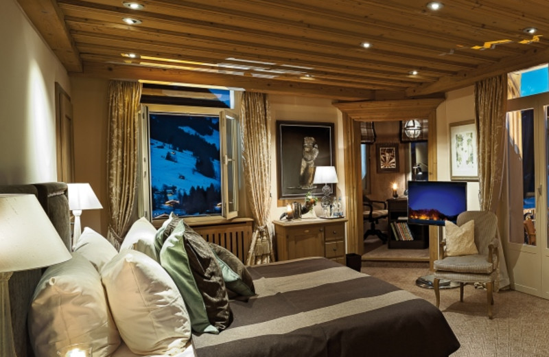 Guest room at Gstaad Palace Hotel.