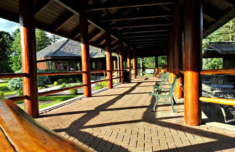 Outdoor patio at Garland Lodge & Resort.