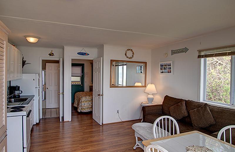 Guest living room and kitchen at Wavecrest Resort.