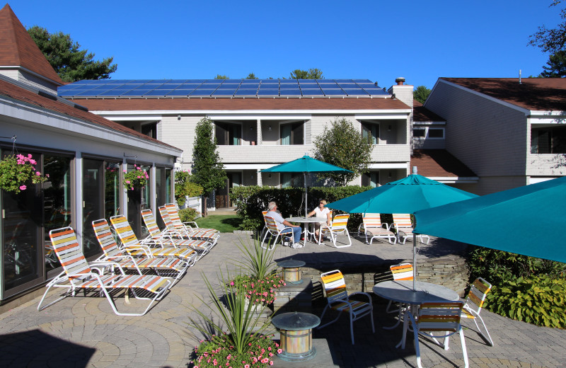 Outdoor patio at The Meadowmere Resort.